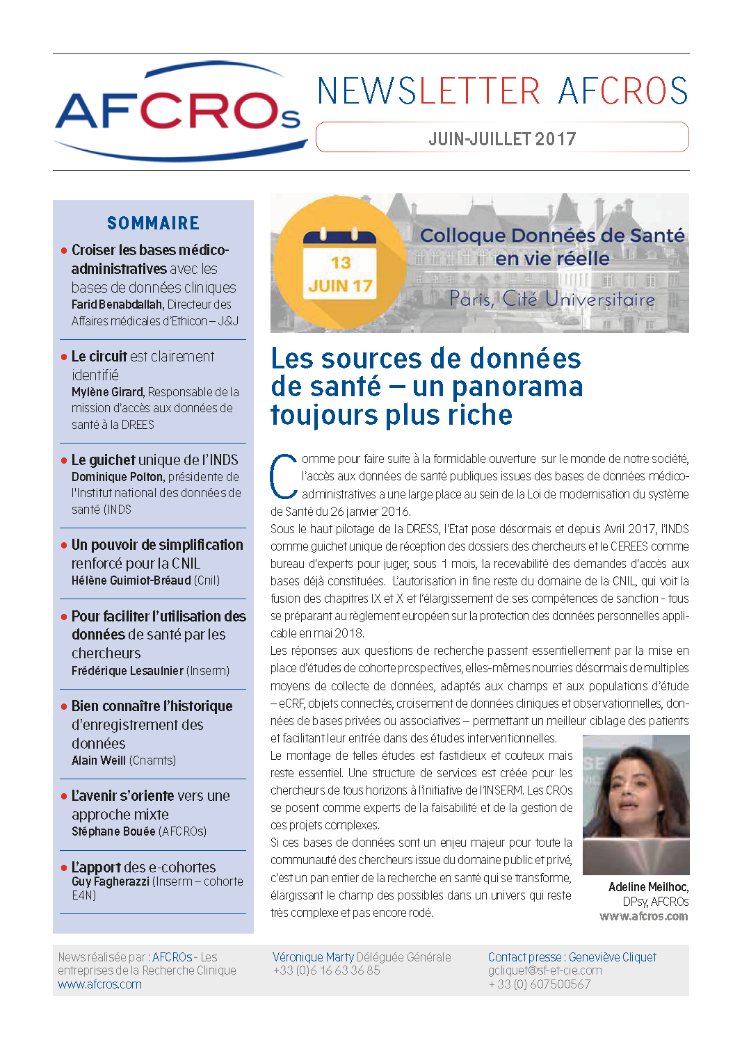 NewsLetter AFCROs Session 1Colloque DSVR